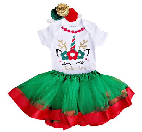 1st Christmas Tutu Outfit -Reindeer Tutu Set Red/Green/Gold NB-5/6