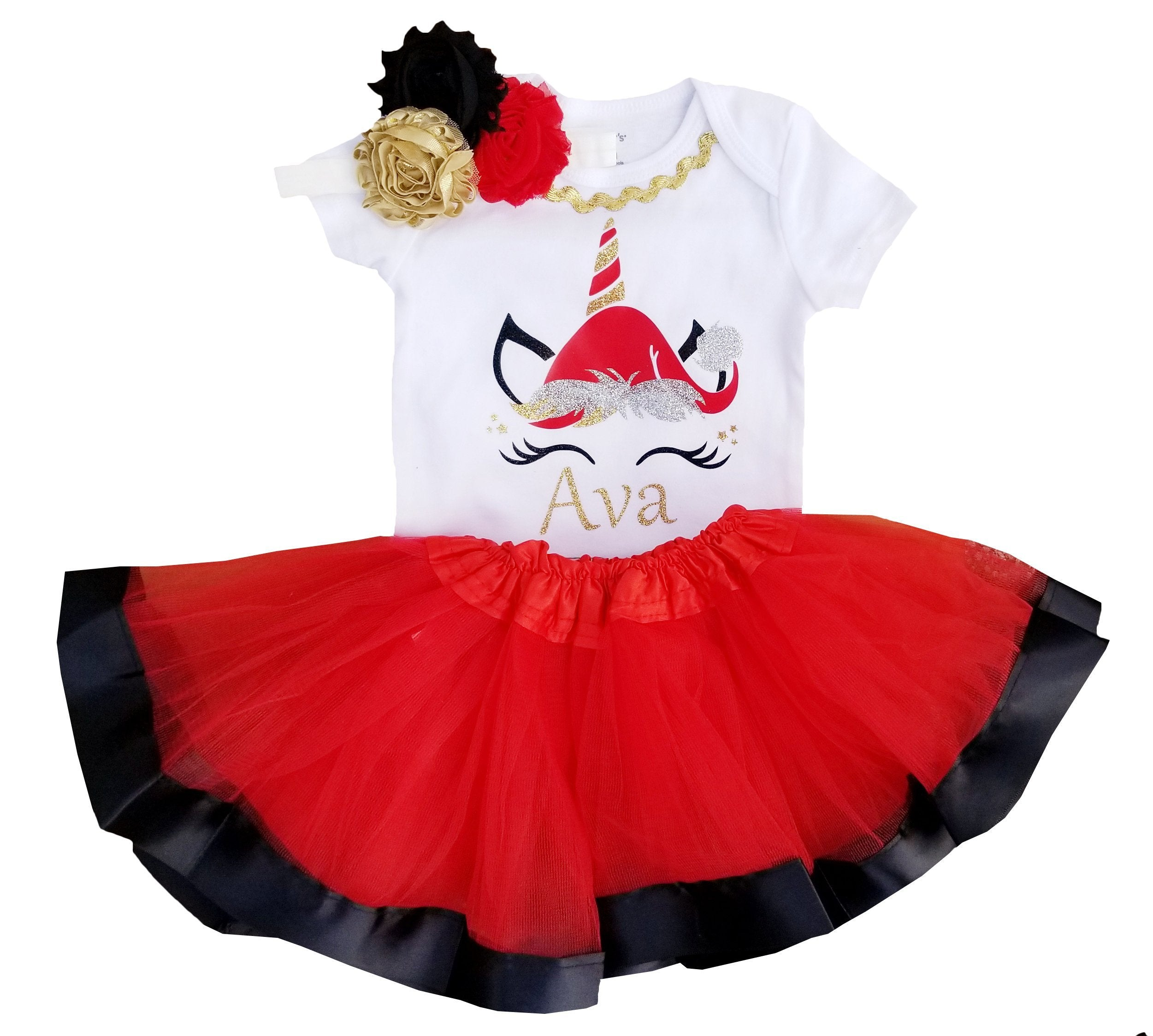 3a14a5130e03 1st Christmas Tutu Outfit -Reindeer Tutu Set Red/Black/Gold NB-5/6 ...