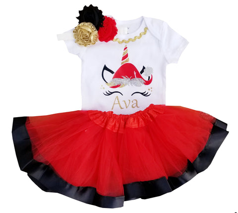 1st Christmas Tutu Outfit -Reindeer Tutu Set Red/Black/Gold NB-5/6