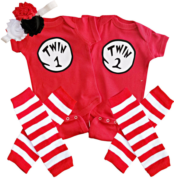 Boy Girl Twin Outfits Twin 1 Twin 2/Thing 1 Thing 2