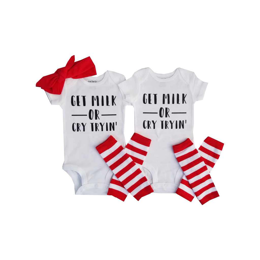 Boy Girl Twin Funny Onesie - Get Milk or Cry Tryin