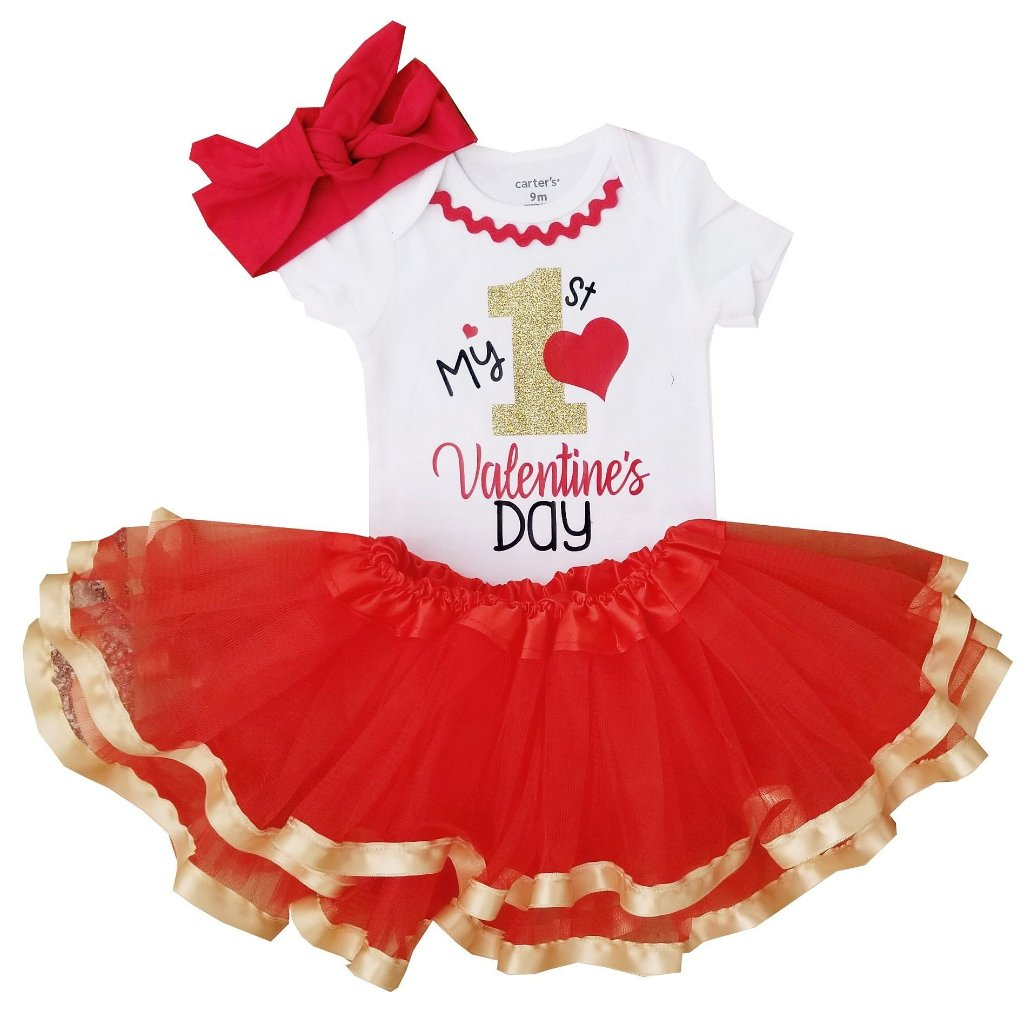 My First Valentine's Girl Outfit Red Gold Satin Tutu NB-24M