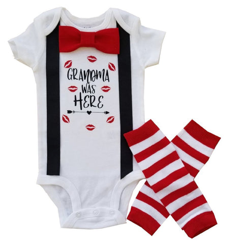 Baby Boy First Valentine Red Black Grandma Was Here NB-24M