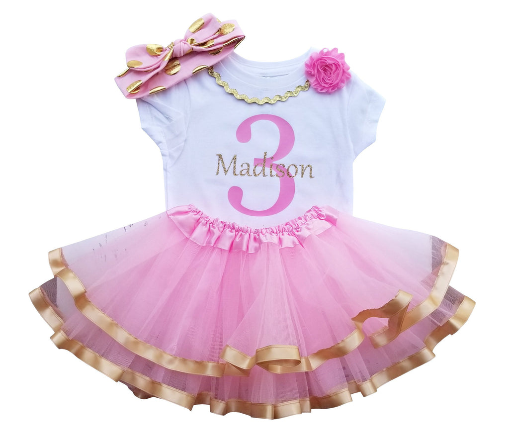 3rd Birthday Girl - Pink Gold Personalized Outfit