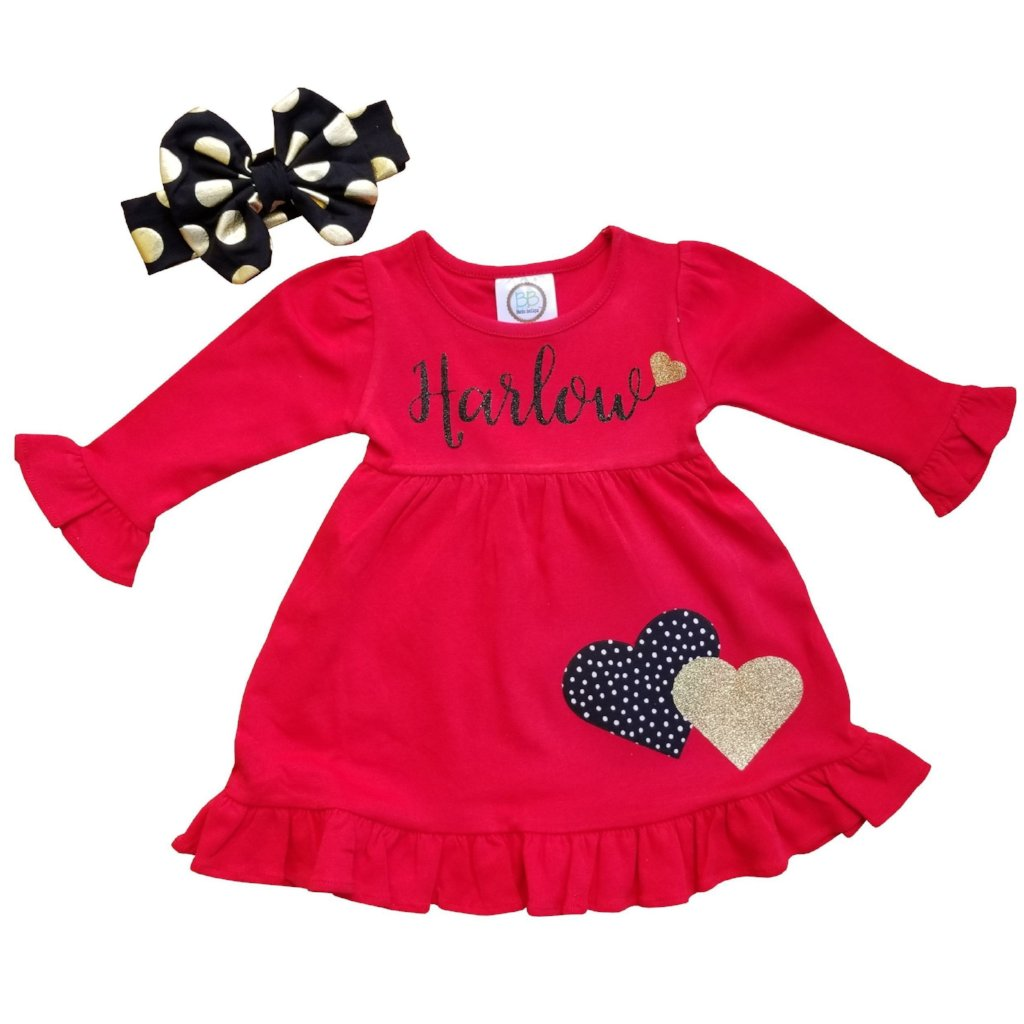 Valentine Personalized Red Black Dress 12M-10