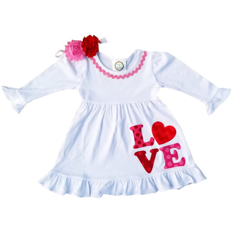 Valentine White Love Hearts Dress 12M-10