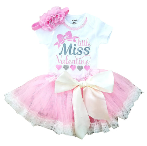 Little Miss Valentine Girl Outfit Pink Silver Tutu 9M-3T