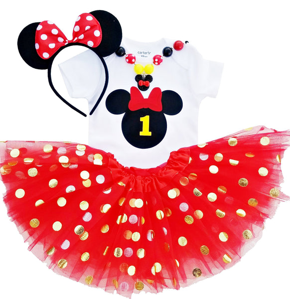 1st Birthday Outfit Baby Girl Minnie Tutu Red Black