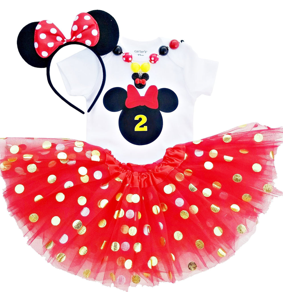 2nd Birthday Outfit Baby Girl Minnie Tutu Red Black