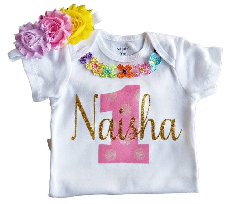 1st Birthday Girl Rainbow Pastel Floral Outfit Personalized