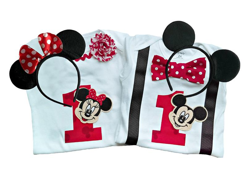 Boy Girl Twin Outfits 1st Birthday Mickey and Minnie - PERSONALIZED