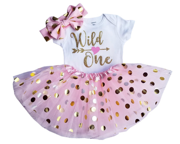1st Birthday Girl Outfit - Wild One Pink Gold Dot