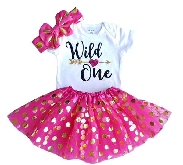 1st Birthday Girl Outfit - Wild One Hot Pink