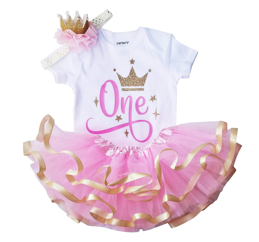 1st Birthday Girl Gold Crown Tutu