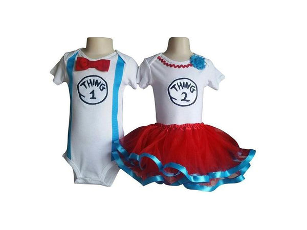 Perfect Pairz Twin Outfits Boy Girl Thing 1 and Thing 2 Tutu