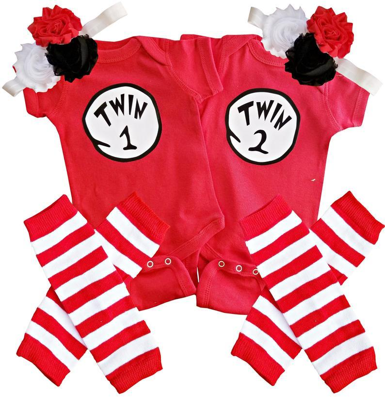 Twin Girl Outfits Twin 1 Twin 2/Thing 1 Thing 2