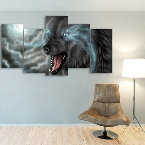 Wall Canvas - Blue Eyes Black WOlf 5 Piece Canvas