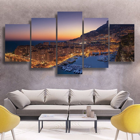 Wall Canvas - Monaco Fontvielle 5 Piece Canvas