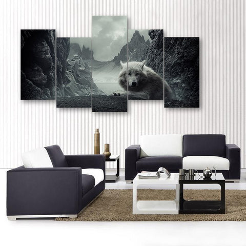 Wall Canvas - Mountain Wolf 5 Piece Canvas