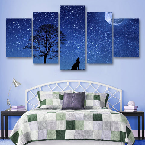 Wall Canvas - Nigh Wolf 5 Piece Canvas