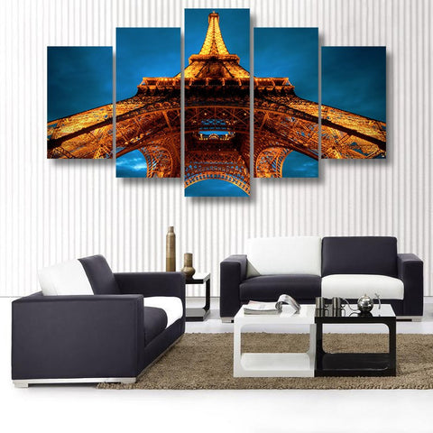 Wall Canvas - The Remarkable Eiffel Tower 5 Piece Canvas