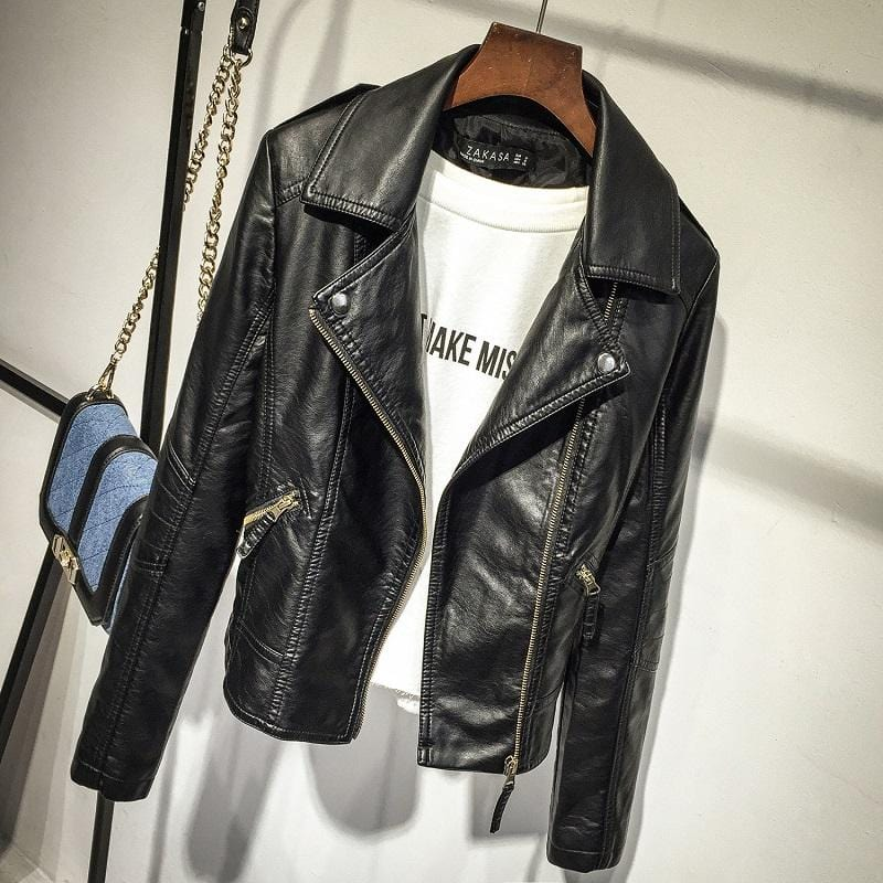 Trendy Womens PU Leather Jackets, Black or Dark Red, Clothing - TheMarketHood
