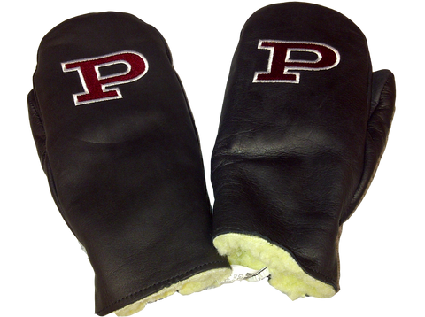 "Mitts Black Leather with Maroon ""P"""