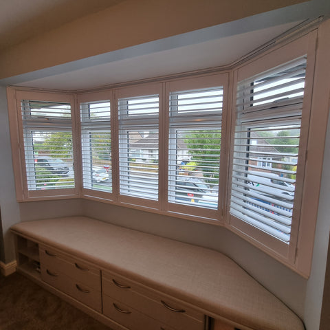 Bay window pure white shutters installed in Dorchester