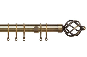25-28mm Pristine Antique Brass Cage Extendable Metal Pole