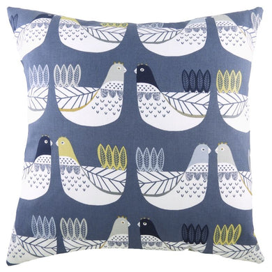 Blue/Ochre Cluck Cluck Cushion