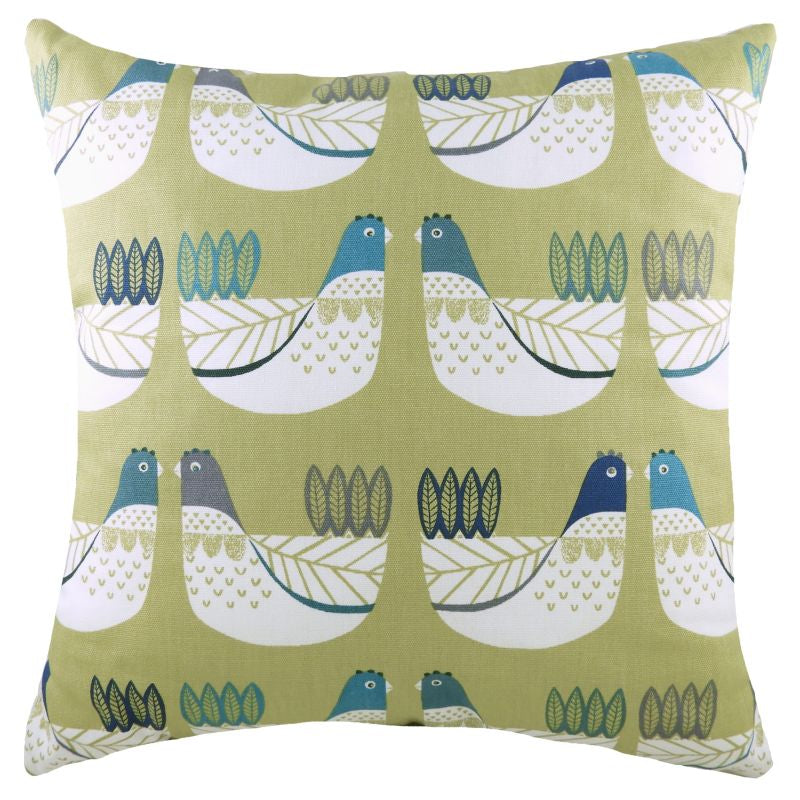 Green/Blue Cluck Cluck Cushion