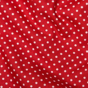 White on Red Mini Spot Cotton Poplin