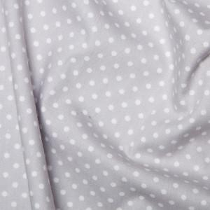 Silver Cotton Poplin - Spots 10mm