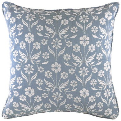Blue Piped Glendale Floral Cushion