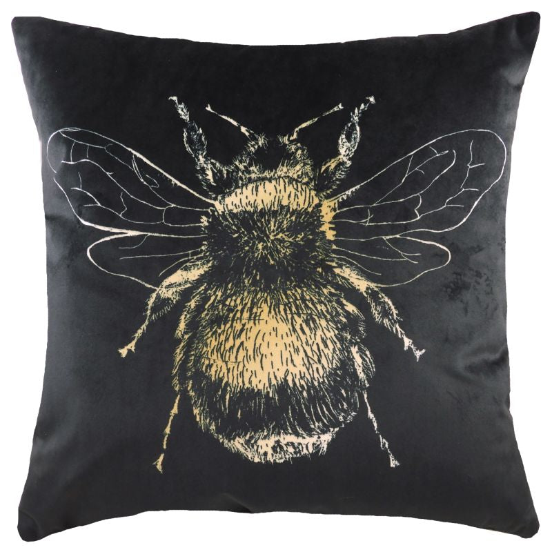 Black Square Gold Bee Cushion