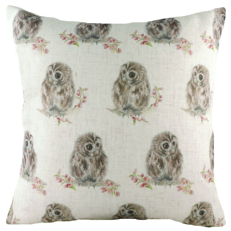 Hedgerow Owls Repeat Cushion