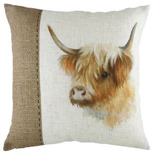 Hessian Highland Cow Cushion