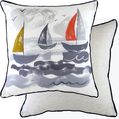 Piped Nautical Sailboats Cushion