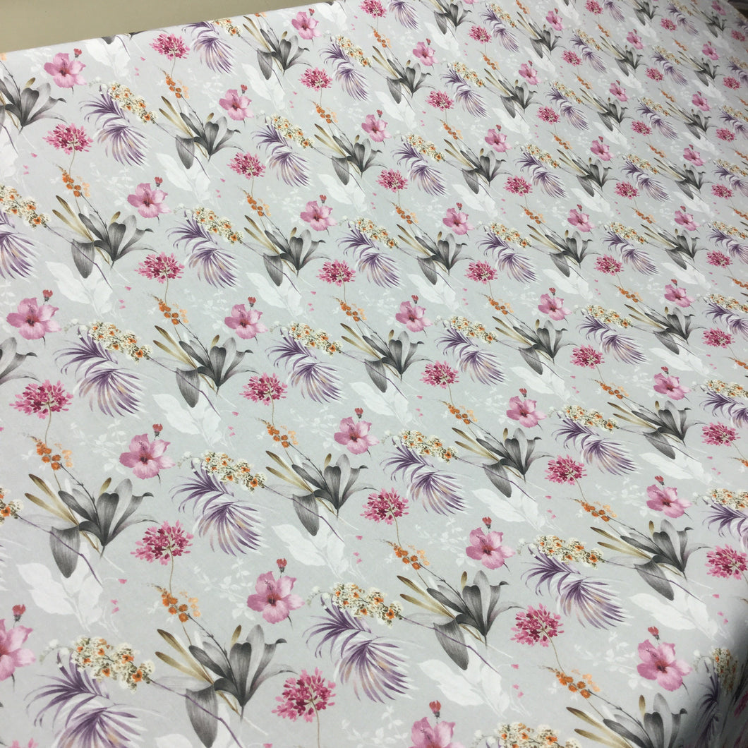 Grey Floral Cotton Poplin