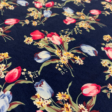 Navy Floral Cotton Poplin