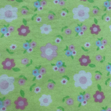 Green Flowers Cotton Flannel Print