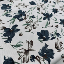Load image into Gallery viewer, Cream Floral Stretch Twill