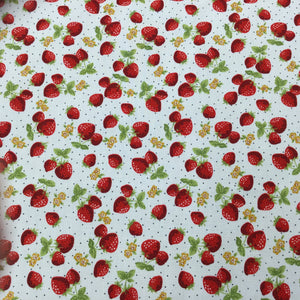 Ivory Strawberries Cotton Poplin