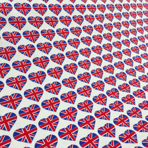 Royal Union Jack Hearts Cotton Poplin