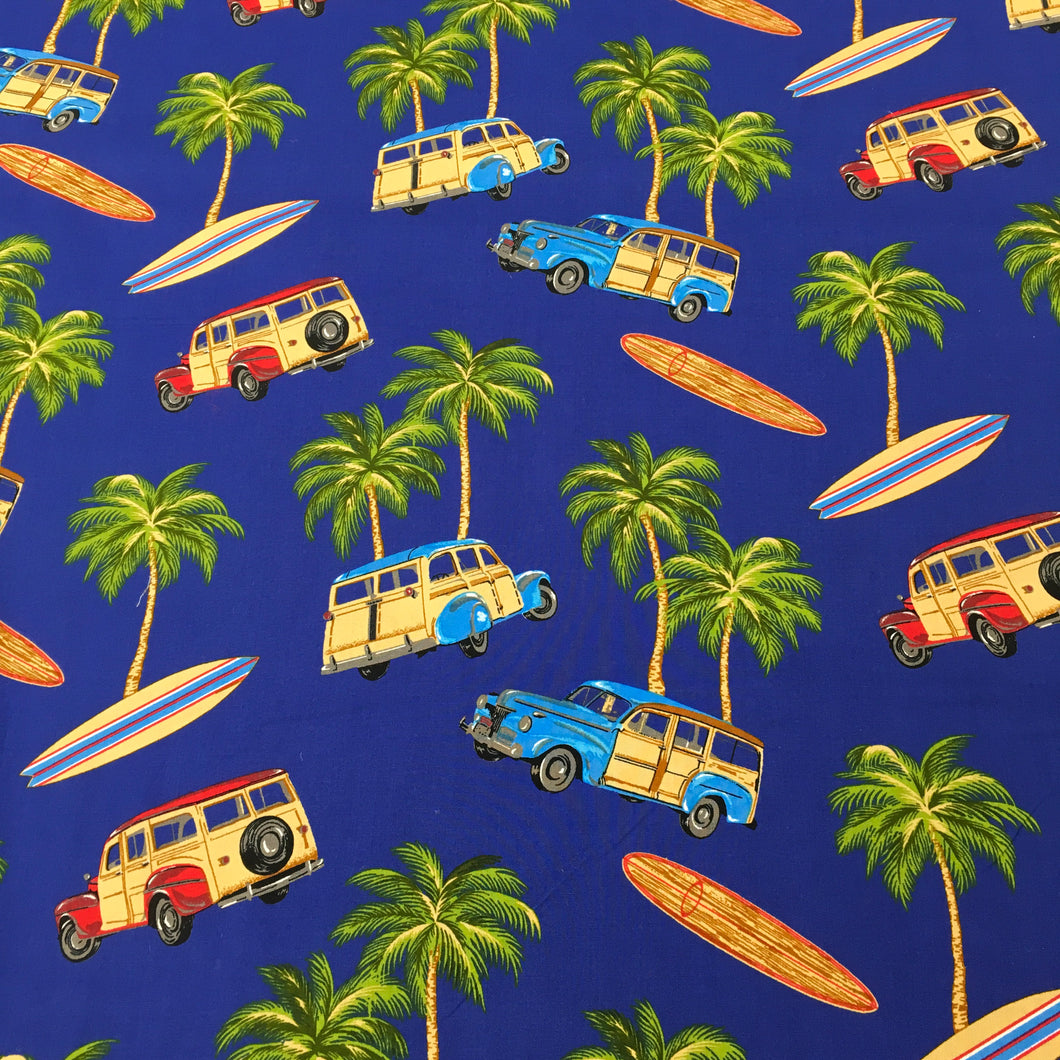 Blue surfboard Cotton Poplin