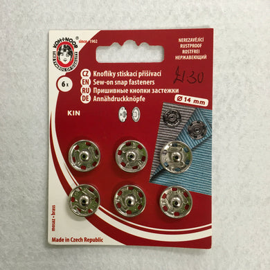 14mm Nickel Plated Snap Fasteners