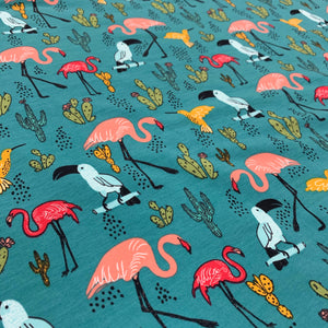 Teal Animal Cotton Jersey Print