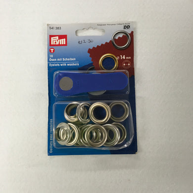 Silver Eyelets With Washers - 14mm