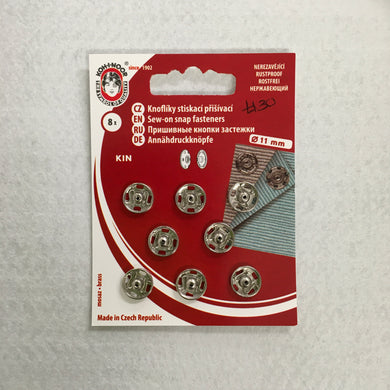 11mm Nickel Plated Snap Fasteners