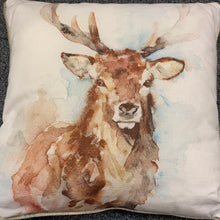 Load image into Gallery viewer, Piped Watercolour Stag Cushion